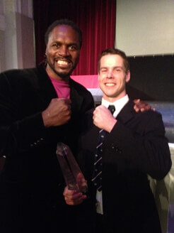 RL360 Quantum sponsored Tim Kneale with Olympic Boxing Gold Audley Harrison